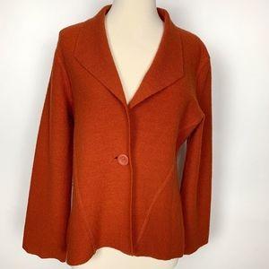 Chico's Burnt Orange Wool Sweater Jacket 1
